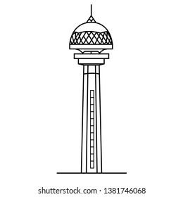 Ankara Atakule Vector Illustration.Ankara tower vector illustration.Turkey-Ankara.