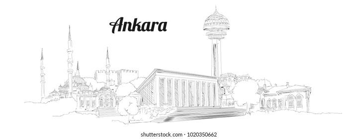 ANKARA city hand drawing panoramic illustration artwork