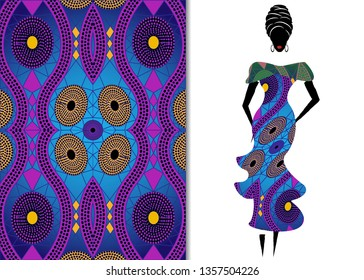 Ankara clothing woman, African Print fabric, Ethnic handmade ornament for your design, Ethnic and tribal motifs geometric elements. Texture, afro textile dresses fashion style, Pareo wrap, batik dress