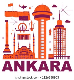 Ankara culture travel set, famous architectures and specialties in flat design. Business travel and tourism concept clipart. Image for presentation, banner, website, advert, flyer, roadmap, icons