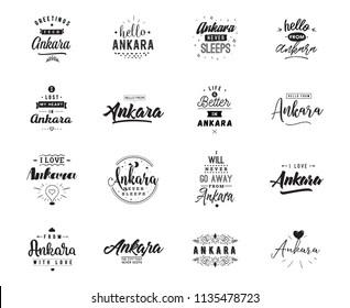 Ankara. Greeting cards, vector design. Isolated logos. Typography set.