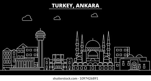 Ankara silhouette skyline. Turkey - Ankara vector city, turkish linear architecture, buildings. Ankara travel illustration, outline landmarks. Turkey flat icon, turkish line banner