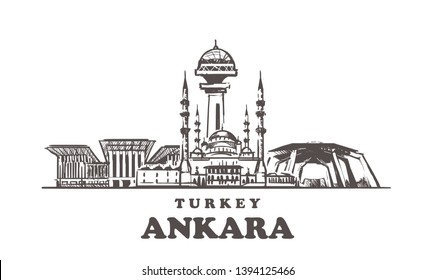 Ankara sketch skyline. Turkey, Ankara hand drawn vector illustration. Isolated on white background.