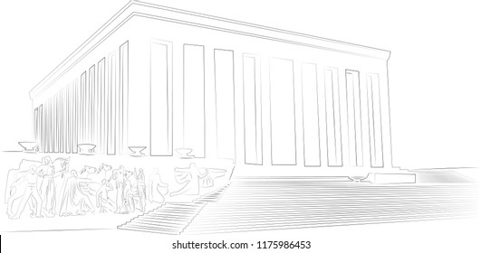 Ankara, Turkey , Ataturk Mausoleum, Anitkabir, monumental tomb of Mustafa Kemal Ataturk, first president of Turkey in Ankara, Tomb of modern Turkey's founder lies here. Lineart drawing by hand