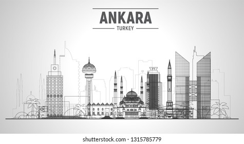 Ankara (Turkey) city line skyline on a white background. Flat vector illustration. Business travel and tourism concept with modern and old buildings. Image for banner or web site.