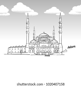 Ankara, Turkey famous landmark sketch. Lineart drawing by hand. Greeting card icon with title, vector illustration