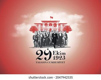 Ankara  Turkey - October 29 1923: Translation: 29 october Turkey Republic Day, happy holiday illustration (Turkish: 29 Ekim Cumhuriyet Bayrami Kutlu Olsun)