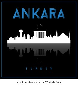Ankara Turkey, skyline silhouette vector design on black background.