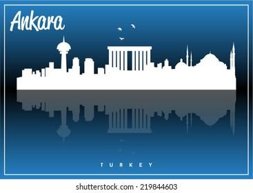 Ankara, Turkey skyline silhouette vector design on parliament blue background.