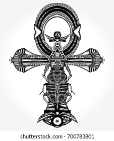 Ankh tattoo and t-shirt design, ancient egyptian cross. Symbol of eternal life tattoo, key to immortality