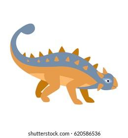 Ankylosaurus Blue And Orange Dinosaur Of Jurassic Period, Prehistoric Extinct Giant Reptile Cartoon Realistic Animal