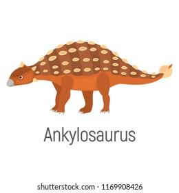 Ankylosaurus color vector icon. Flat design