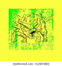 Ankylosaurus Dinosaur on Texture Background vector illustration