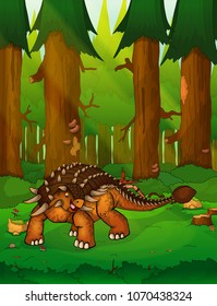 Ankylosaurus on the background of a forest.