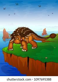 Ankylosaurus on the background of the sea. Vector illustration.
