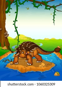 Ankylosaurus on the background of a waterfall.