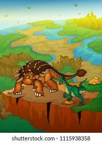 Ankylosaurus and raptor with landscape background. Vector illustration.