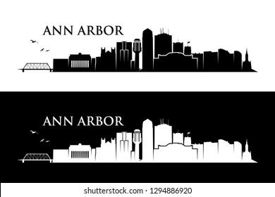 Ann Arbor skyline - Michigan, United States of America, USA - vector illustration