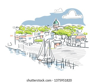 Annapolis Maryland usa America vector sketch city illustration line art
