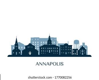 Annapolis skyline, monochrome silhouette. Vector illustration.