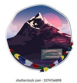 Annapurna moutain basecamp - vector illustration
