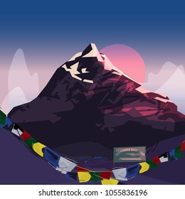 Annapurna summit with sunset. famous moutain concept around the world - vector illustration