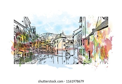 Annecy is an alpine town in southeastern France, where Lake Annecy feeds into the Thiou River. Watercolor splash with hand drawn sketch illustration in vector.