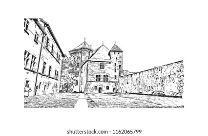 Annecy is an alpine town in southeastern France, where Lake Annecy feeds into the Thiou River. Hand drawn sketch illustration in vector.