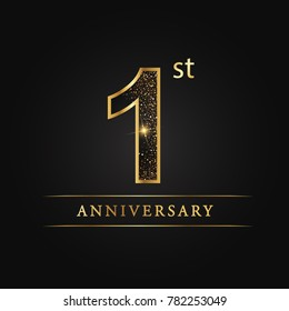 anniversary, 1 year celebration logotype. 1st number star luxury style logo on black background.