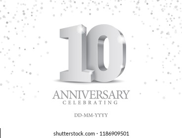 Anniversary 10. silver 3d numbers. Poster template for Celebrating 10th anniversary event party. Vector illustration