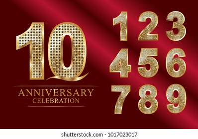 anniversary 10 years celebration logotype. 0-9 numbers logo style disco.