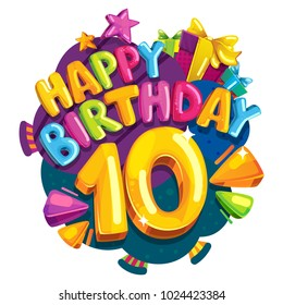 Anniversary 10 years. Happy birthday emblem. Vector cartoon color illustration
