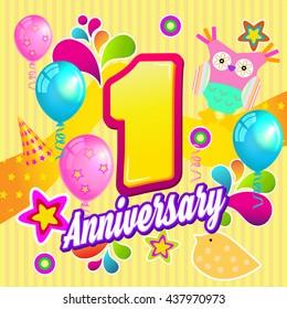 Anniversary. 1st Birthday. First Year Celebration Design.