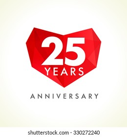 Anniversary 25 years old celebrating logotype with hearts. Luxurious celebrating congratulating greetings, stained glass numbers template. Valentine's Day abstract emotional lovely isolated shape.