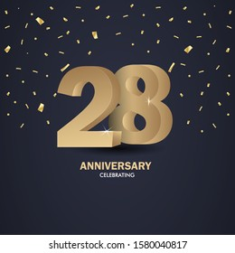 Anniversary 28. gold 3d numbers. Poster template for Celebrating anniversary event party. Vector illustration - Vector