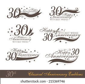 Anniversary 30th signs collection in classic style. Template of birthday celebration and jubilee emblems  with numbers and copy space on the ribbons.