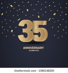 Anniversary 35. gold 3d numbers. Poster template for Celebrating anniversary event party. Vector illustration - Vector