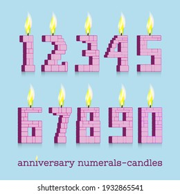 Anniversary 3d numerals-candles with fire from zero to nine. Flame and shadows on light background