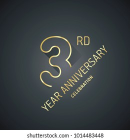 Anniversary 3rd year celebration logo gold black greeting card