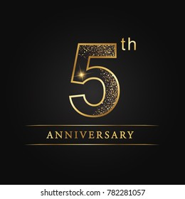 anniversary, 5 years celebration logotype. 5 number star luxury style logo on black background.