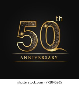 anniversary, 50 years celebration logotype. 50th number star luxury style logo on black background.