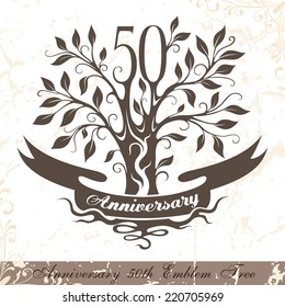 Anniversary 50th emblem tree in classic style. Ornamental decoration with copy space on the ribbon. Vector template for wedding, birthday and jubilee celebration