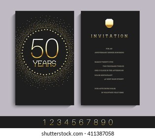 Anniversary 5th, 10th, 20th, 30th, 40th, 50th, 60th invitation card.