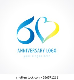 Anniversary 60 years old hearts celebrating vector digit logo. Birthday greetings with framed tape heart shape. Holiday abstract numbers or letter o. Lovely card with celebrating figures 60 th.