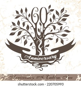Anniversary 60th emblem tree in classic style. Ornamental decoration with copy space on the ribbon. Vector template for wedding, birthday and jubilee celebration