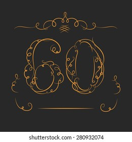 Anniversary 60th signs  in calligraphy  style. Template of anniversary, birthday and jubilee emblems  with number.