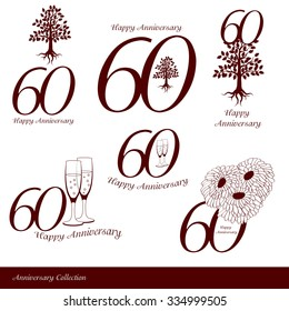 Anniversary 60th signs collection