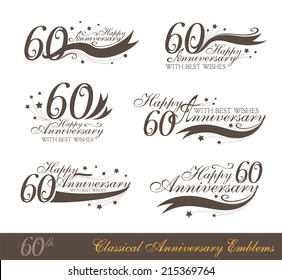 Anniversary 60th signs collection in classic style. Template of birthday celebration and jubilee emblems  with numbers and copy space on the ribbons.