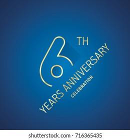Anniversary 6th years celebration logo gold blue greeting card