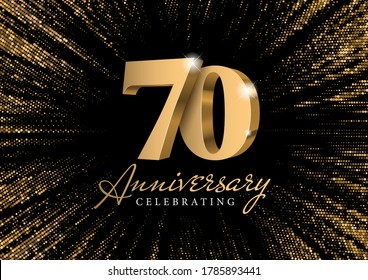 Anniversary 70. gold 3d numbers. Against the backdrop of a stylish flash of gold sparkling from the center on a black background. Poster template for Celebrating 70th anniversary event party. Vector